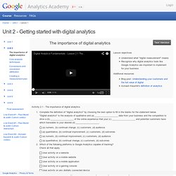 Digital Analytics Fundamentals - - Unit 2 - Getting started with digital analytics