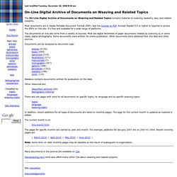 On-Line Digital Archive: On Weaving & Related Topics