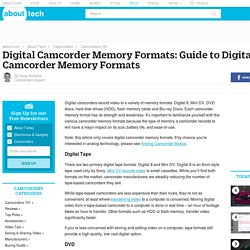 Digital Camcorder Memory Formats: Guide to Digital Camcorder Memory Formats - About Camcorders
