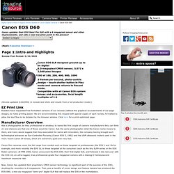 Canon EOS D60 Digital Camera Review: Intro and Highlights
