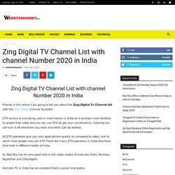 Zing Digital TV Channel List with channel Number 2020 in India