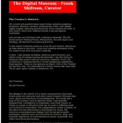 The Digital Museum - Curator's Abstract