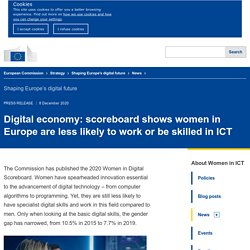 Brève - Digital economy: scoreboard shows women in Europe are less likely to work or be skilled in ICT