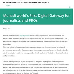 Munadi world's First Digital Gateway for journalists and PROs