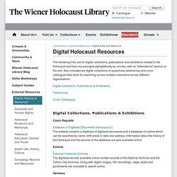 Digital Holocaust Resources - Wiener Library