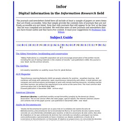 Digital information in the Information Research field