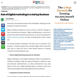 Role of Digital marketing in a startup Business