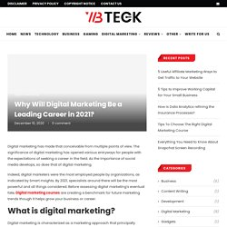 Why Will Digital Marketing Be a Leading Career in 2021?