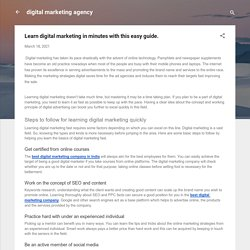 Learn digital marketing in minutes with this easy guide.