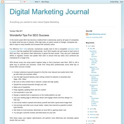Digital Marketing Journal: Wonderful Tips For SEO Success