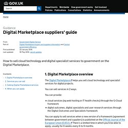 Digital Marketplace suppliers' guide - Detailed guidance