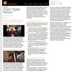 """Chaire """"Digital Natives """" - actualités"""
