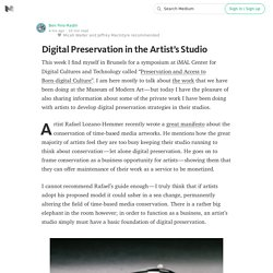 Digital Preservation in the Artist's Studio
