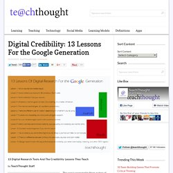 Digital Credibility: 13 Lessons For the Google Generation -