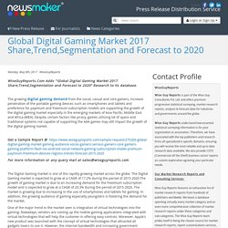 Global Digital Gaming Market 2017 Share,Trend,Segmentation and Forecast to 2020
