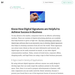 Know How Digital Signatures are Helpful to Achieve Success in Business