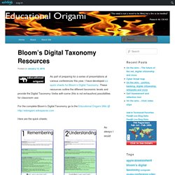 Bloom's Digital Taxonomy Resources