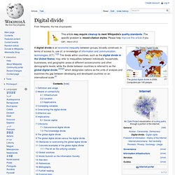 Digital divide - Wikipedia, the free encyclopedia