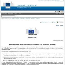 Agenda digitale: 9 miliardi di euro in più l'anno con più donne in carriera