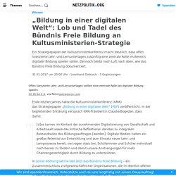 """""""Bildung in einer digitalen Welt"""": Lob und Tadel des Bündnis Freie Bildung an..."""
