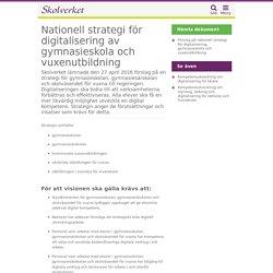 Nationell strategi för digitalisering av gymnasieskola och vuxenutbildning