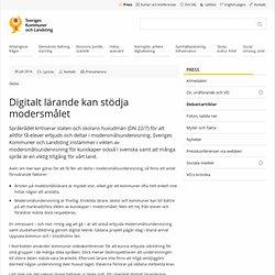 Digitalt lärande kan stödja modersmålet - SKL