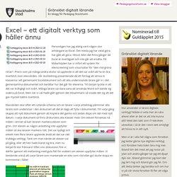 Excel – ett digitalt verktyg som håller ännu