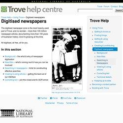 Trove : Digitised newspapers