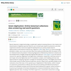 Green digitization: Online botanical collections data answering real-world questions - Soltis - 2018 - Applications in Plant Sciences
