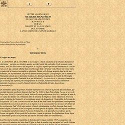 Mulieris Dignitatem, Jean-Paul II, 15 août 1988 - Lettre Apostolique