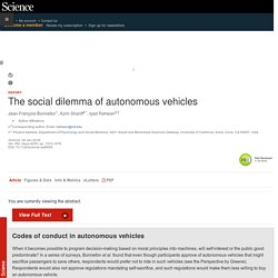 The social dilemma of autonomous vehicles