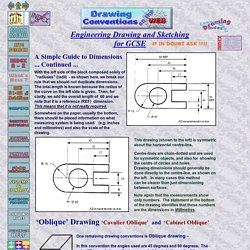 Dimensions on drawings - Cabinet Oblique and Cavalier Oblique. Drawing guides - Radius and radii dimensioning - Positioning of dimensions on Engineering and technical drawings for high school students at KS3, KS4 and KS5 - Design & Technology On The Web -