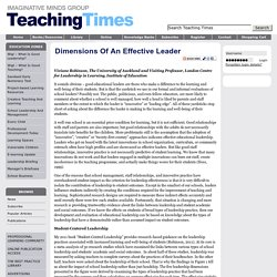 Dimensions of an effective leader