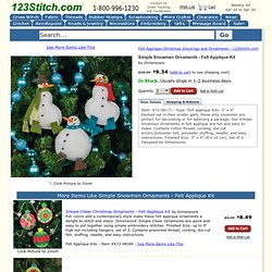 Dimensions Simple Snowmen Ornaments - Felt Applique Kit - 123Stitch.com