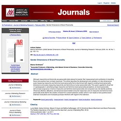 AMA Journals - Gender Dimensions of Brand Personality