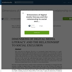 Dimensions of digital media literacy and the relationship to social exclusion