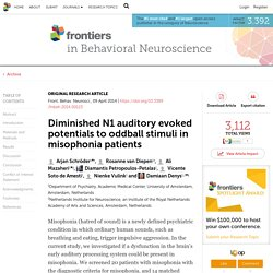 Diminished N1 Auditory Evoked Potentials to Oddball Stimuli in Misophonia Patients