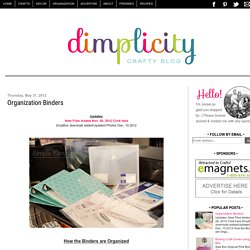 Simple Dimples: Organization Binders