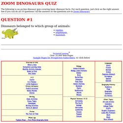 Dinosaur Quiz - Question #1