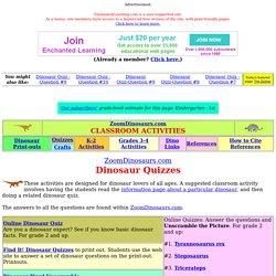 Dinosaur Quizzes Activities