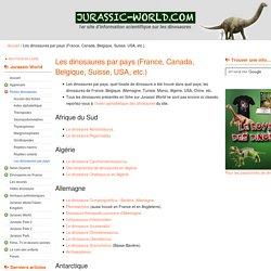 Les dinosaures par pays (France, Canada, Belgique, Suisse, USA, etc.)