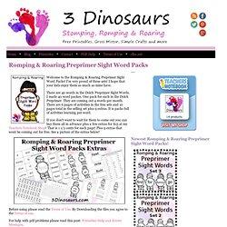 3 Dinosaurs - Romping & Roaring Preprimer Sight Word Packs