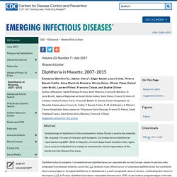CDC EID - JULY 2017 - Diphtheria in Mayotte, 2007–2015