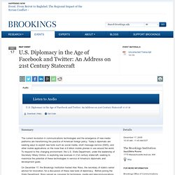 U.S. Diplomacy in the Age of Facebook and Twitter - Brookings In