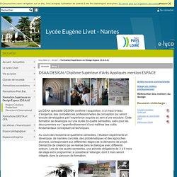 Lycée Eugène Livet - Nantes - DSAA DESIGN / Diplôme Supérieur d'Arts Appliqués mention ESPACE