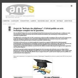 """Projet de """"Refonte des diplômes"""" : l'ANAS publie un avis technique complet sur la question"""