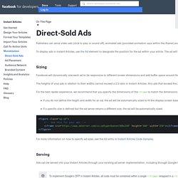 Publicités de vente directe - Instant Articles