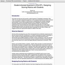 Litz - Student-directed Assement in ESL/EFL: Designing Scoring Rubrics with Students