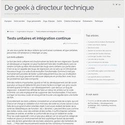 Tests unitaires et intégration continue