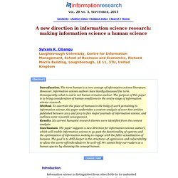 A new direction in information science research: making information science a human science
